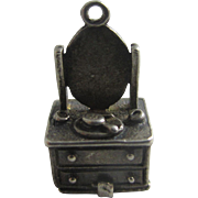 Opening Nuvo dressing table sterling silver English charm Vintage c1960.
