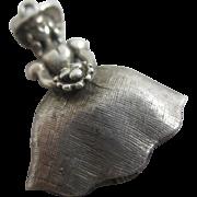 Little Bo Peep nursery rhyme sterling silver pendant charm Vintage c1960.