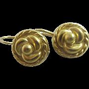 18k 18ct gold lovers knot pendant earrings Vintage c1980.