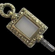 Chalcedony 15k 15ct gold cased watch key pendant antique Victorian c1840.
