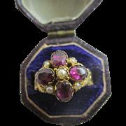 Almondine garnet seed pearl 15k 15ct gold ring antique Victorian c1860.