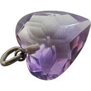 Real amethyst heart pendant charm antique Victorian c1890.