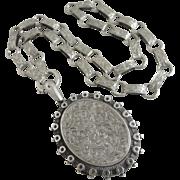 Sterling silver double pendant locket book chain necklace antique Victorian 1881 English hallmark.