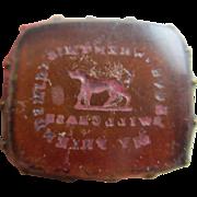 Intaglio carnelian dog motto 9k 9ct gold cased fob seal pendant antique Victorian c1850.