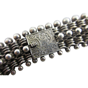 Sterling silver book chain necklace antique Victorian c1860.