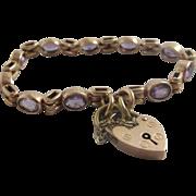 Amethyst 9k 9ct rose gold bracelet heart padlock clasp antique Edwardian c1910.