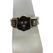 Enamel seed pearl mourning hair 9k 9ct gold ring antique Edwardian English Chester hallmark.