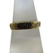 Braided mourning hair 18k 18ct gold ring antique Victorian 1869 English hallmark.