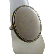 Fiery opal 9k 9ct gold ring vintage 1992 English hallmark.