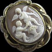 Shell cameo cherub 9k 9ct gold cased brooch pin antique Victorian c1840.