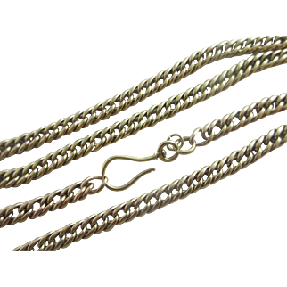 15k 15ct gold chain link necklace antique Victorian c1890.