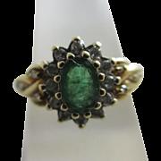 Emerald & diamond 9k 9ct gold ring vintage 1993 English hallmarks.