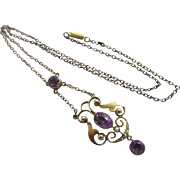 Amethyst seed pearl 9k 9ct gold dangling pendant lavalier necklace antique Victorian c1890.