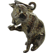 Sterling silver cat licking paw pendant charm Vintage c1960.