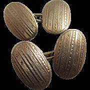 9k 9ct rose gold cufflinks antique Edwardian English hallmarks.