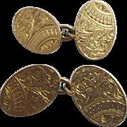 9k 9ct rose gold cufflinks antique Edwardian Chester 1902 English hallmark.