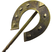 9k 9ct gold horseshoe stick pin brooch antique Victorian c1890.