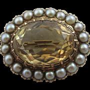 Citrine seed pearls 9k 9ct gold brooch pin vintage 1962 English hallmarks.