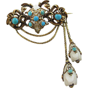 White coral turquoise 15k 15ct gold dangling pendant mourning locket brooch pin antique Victorian c1860.