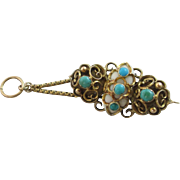 White coral turquoise 15k 15ct gold mourning locket pendant brooch pin antique Victorian c1860.