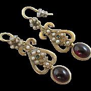 Bohemian & demantoid garnets seed pearl 15k 15ct gold dangling ear pendant earrings antique Victorian c1860.