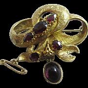 Cabochon garnet 18k 18ct gold dangling pendant mourning locket brooch pin antique Victorian c1860.