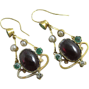 Demantoid green garnet cabochon garnet seed pearl 15k 15ct gold pendant earrings antique Victorian c1890.