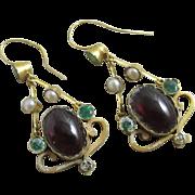 Demantoid green garnet cabochon garnet seed pearl 15k 15ct gold pendant earrings antique Victorian c1890.