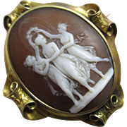3 Graces shell cameo 18k 18ct gold brooch pin antique Victorian c1850.