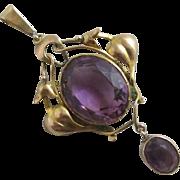 Amethyst 15k 15ct gold dangling pendant lavalier antique Victorian c1890.