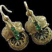Emerald paste pinchbeck dangling ear pendant earrings antique Victorian c1860.