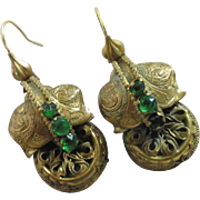 Emerald paste pinchbeck dangling ear pendant earrings antique Victorian c1860.