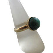 Malachite 18k 18ct gold French ring antique Victorian c1890.