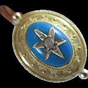 Baby blue enamel seed pearl 18k 18ct gold pendant earrings antique Victorian c1860.