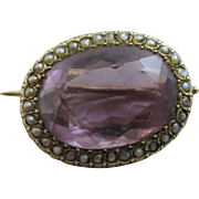Amethyst seed pearl 9k 9ct gold lace pin brooch antique Victorian c1860.
