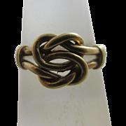 9k 9ct gold lovers knot ring vintage 1977 English hallmark.