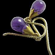 Teardrop amethyst 9k 9ct gold dangling ear pendant earrings antique Victorian c1890.
