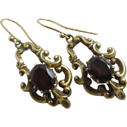 Bohemian garnet 9k 9ct gold dangling ear pendant earrings vintage English hallmark.
