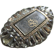 Georgian black dot paste 9k 9ct gold & sterling silver braided mourning hair brooch pin Antique c1790.