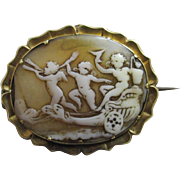 Real shell cameo of cherubs in a chariot 15k 15ct gold brooch pin antique Victorian c1860.
