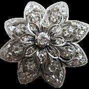 Diamond 18k 18ct white gold flower brooch pin antique Victorian c1900.