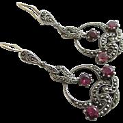 Sterling silver marcasite pink tourmaline 9k 9ct gold wires dangling ear pendant earrings vintage Art Deco c1920.