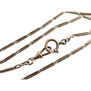 9k 9ct rose gold watch chain necklace antique Victorian c1890.