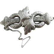 Sterling silver brooch pin antique Victorian c1860.