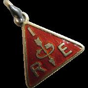 Institute Radio Engineers IRE enamel 9k 9ct gold pendant fob charm vintage Art Deco c1920.