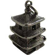 Sterling silver opening temple Nuvo pendant charm vintage c1960.