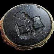 Intaglio black onyx 9k 9ct gold cased fob seal pendant antique Victorian c1840.