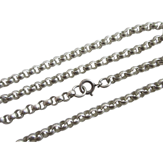 """Sterling silver chain link necklace 61.2cm / 24.0"""" vintage 1977 English hallmarks."""