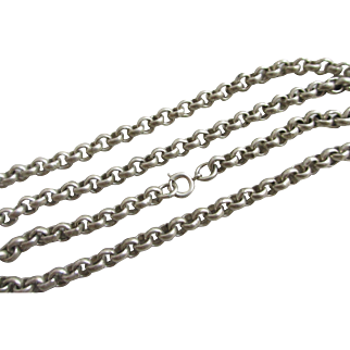"""Sterling silver chain link necklace 60.7cm / 23.9"""" vintage 1977 English hallmarks."""