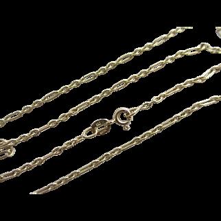 "9k 9ct gold chain link necklace 45.2cm / 17.7"" vintage 1993 English hallmark."